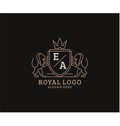 Initial ea letter lion royal luxury logo template vector