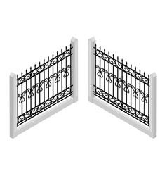 isometric fence vector image