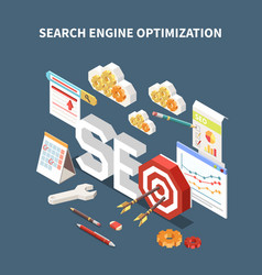 Isometric isolated web seo composition vector