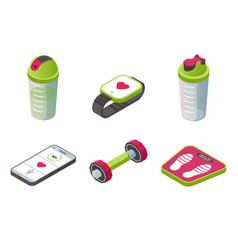 isometric sport wearable accessories icons set vector image