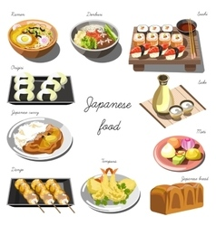 Japanese cuisine set Collection of food dishes vector image