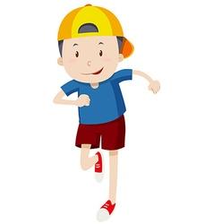 Little boy in yellow hat running vector