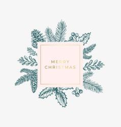 Merry christmas abstract green foliage card vector