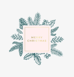 merry christmas abstract green foliage card with vector image