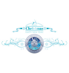 Merry christmas happy new year holiday border vector
