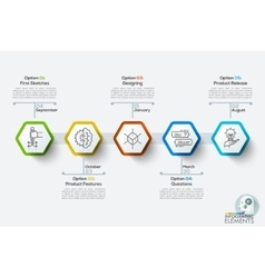 Modern infographics timeline template with 5 white vector image