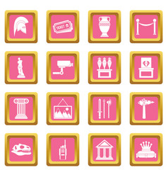 museum icons pink vector image