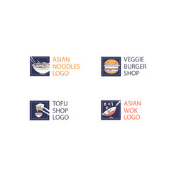 noodle and tofu or burger restaurant logo vector image