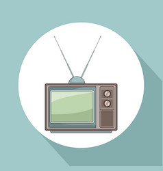 old tv round icon vector image