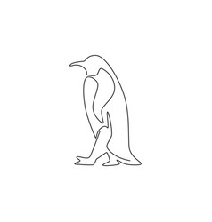 one continuous line drawing funny penguin vector image