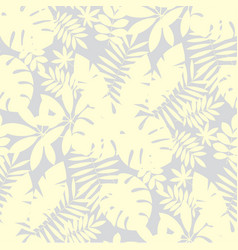 pale ivory color tropical leaves seamless pattern vector image