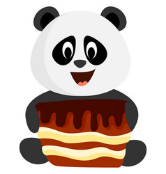 panda with cake on white background vector image