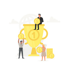 people store and collect money in large trophy vector image