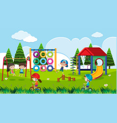 Playground scene with happy children at daytime vector