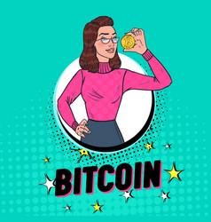 pop art pretty woman holding golden bitcoin coin vector image