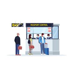 Queue to passport control semi flat rgb color vector