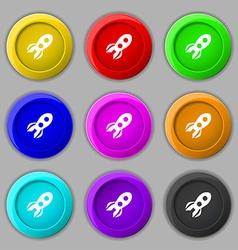 Rocket icon sign symbol on nine round colourful vector image