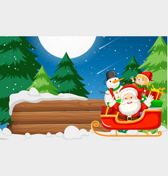 santa claus with wooden banner vector image