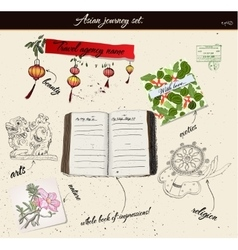 Scrapbooking poster with asian elements vector image