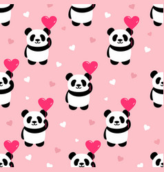Seamless panda pattern background vector