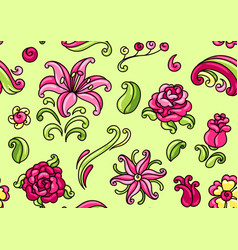 seamless pattern with roses and lilies vector image