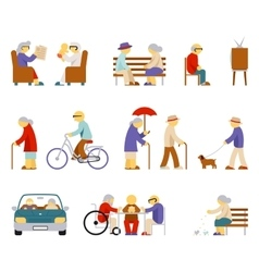 Senior lifestyle icons vector