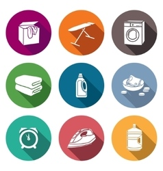 Services Dry Cleaning Icons Set vector