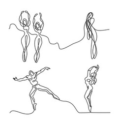 set ballet dancer ballerina vector image