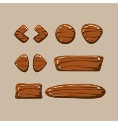 set cartoon wooden buttons vector image
