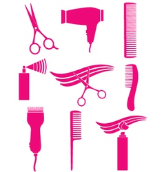 Set hairdresser tools vector