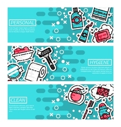 Set horizontal banners about personal hygiene vector