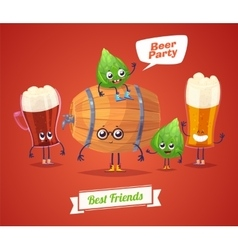 Set of beer characters cute cartoons vector image