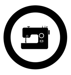 sewing machine icon black color in round circle vector image