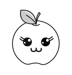 Silhouette kawaii cute happy apple fruit vector