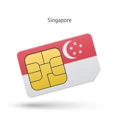 Singapore mobile phone sim card with flag vector