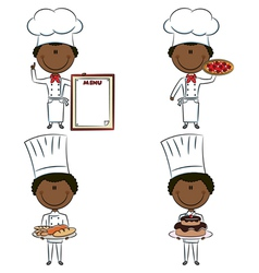 Smart cute African-American chef men vector image