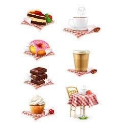 Street cafe chocolate cupcake cake cup of coffee vector