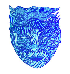 Surreal abstract goddess water with face vector