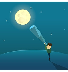 The Boy Looks at the Moon Through a Telescope vector image