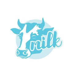the logo is the silhouette of the head of a cow vector image