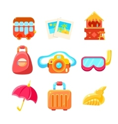 Travelling Related Objects Colorful Simple Icons vector