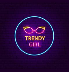 trendy girl neon sign vector image