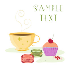 Vintage card featuring cup tea cherry cupcake vector