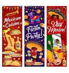 viva mexico banners with mexican fiesta party food vector image