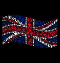 Waving united kingdom flag collage of air crash vector