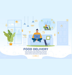 webpage offering food home delivery online service vector image