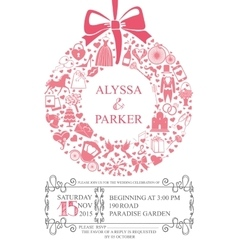 Wedding invitation with wreath compositionFlat vector