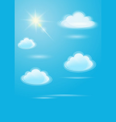White clouds and bright sun on a blue sky vector