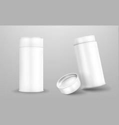 white paper tube with open and closed cap vector image