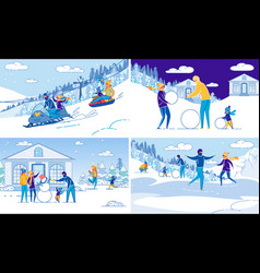 Winter outdoor activity and family recreation set vector